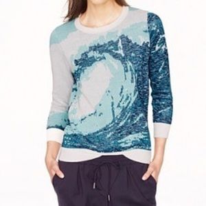 J crew collection blue wave print sweater